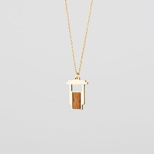 Contour Necklace (Zebrawood/Gold)