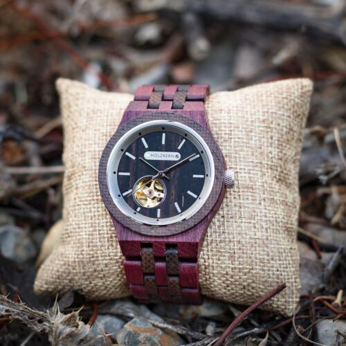 Holzuhr wood watch Holzkern Demokrit 1