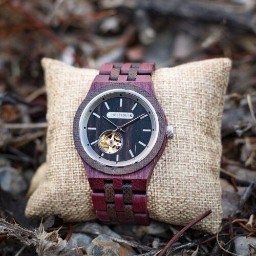 Holzuhr wood watch Holzkern Demokrit 1