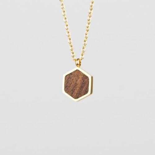 Facade Necklace (Walnut/Gold)