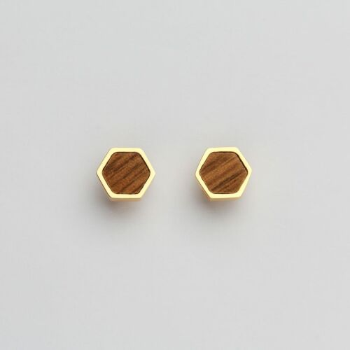 Facade Earrings (Walnut/Gold)