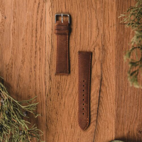 Leather Strap 20mm (Light-brown/Silver)