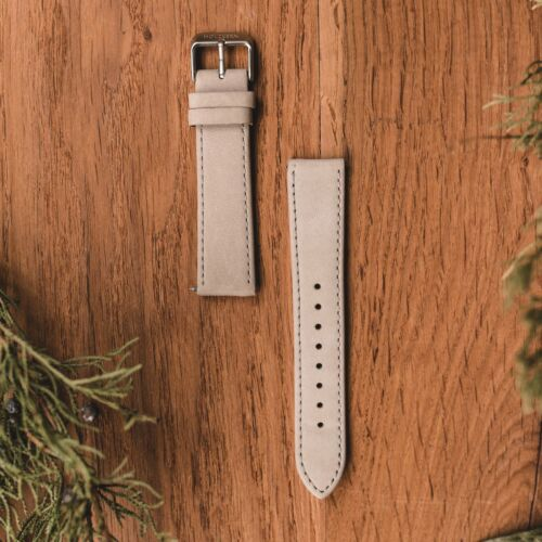 Leather Strap 20mm (Gray/Silver)