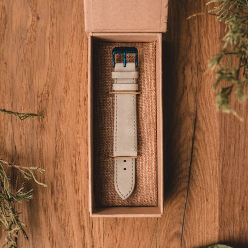 Leather Strap 20mm (Gray/Blue)