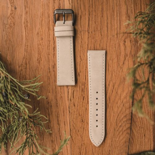 Leather strap 22mm (Gray/Gray)