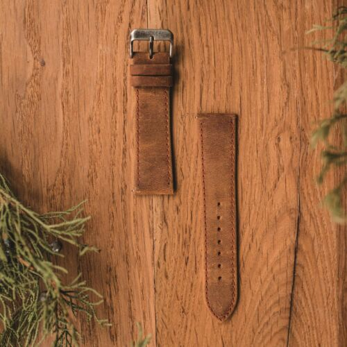 Leather strap 22mm (Light-brown/Antique-Silver)
