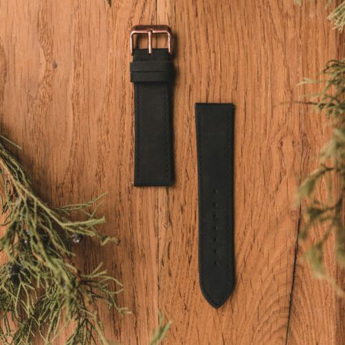 Leather strap 22mm (Black/Antique-Copper)