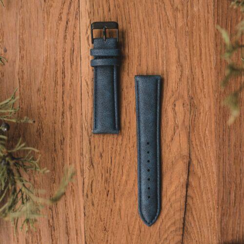 Vegan Leather Strap 20mm (Blue/Black)