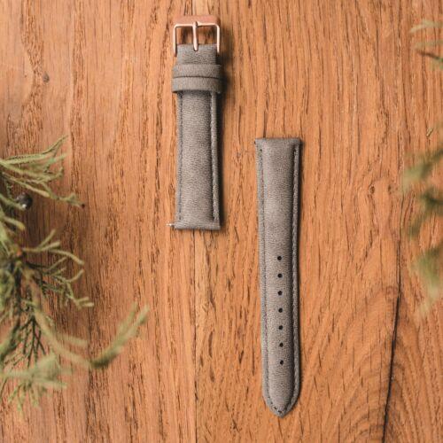 Vegan leather strap 18mm (Gray/Rose gold)
