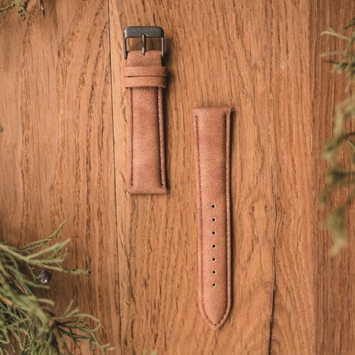 Vegan Leather Strap 20mm (Light-brown/Gray)