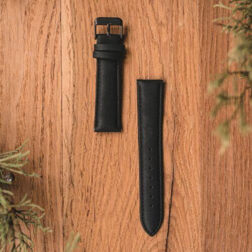 Vegan Leather Strap 20mm (Black/Black)