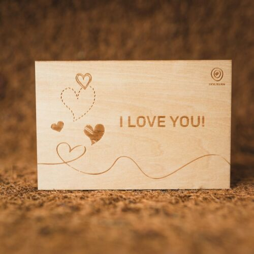 Wooden Postcard I <3 You