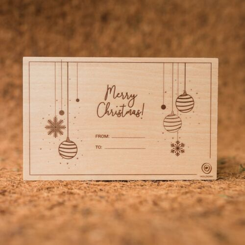 Wooden postcard Merry Christmas 1