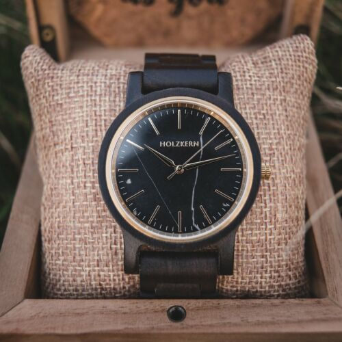 Dark wood watch named Summer Night made of leadwood and marble