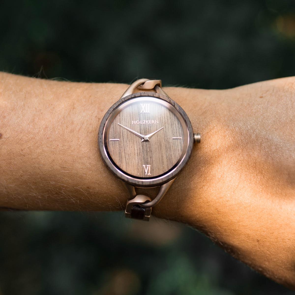 Silk Fiber, a wood watch by Holzkern on a women's wrist