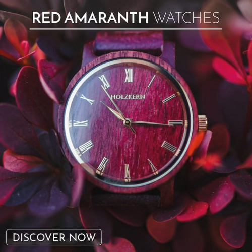 Red watches made from precious amaranth