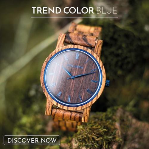 Wood meets the trent color blue