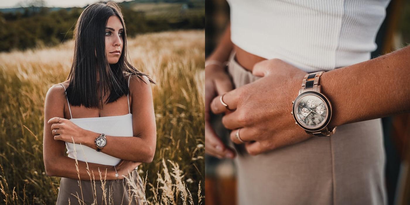 Collage Model mit Uhr in Feld und Uhr am Handgelenk in Feld