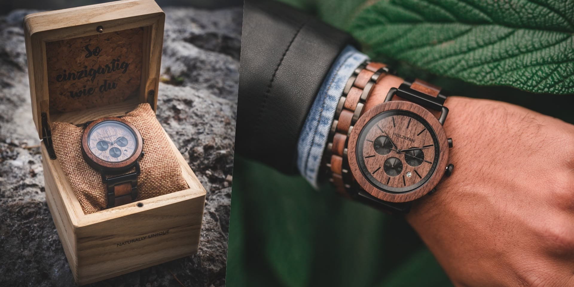 Our chronograph Dusk made of dark walnut