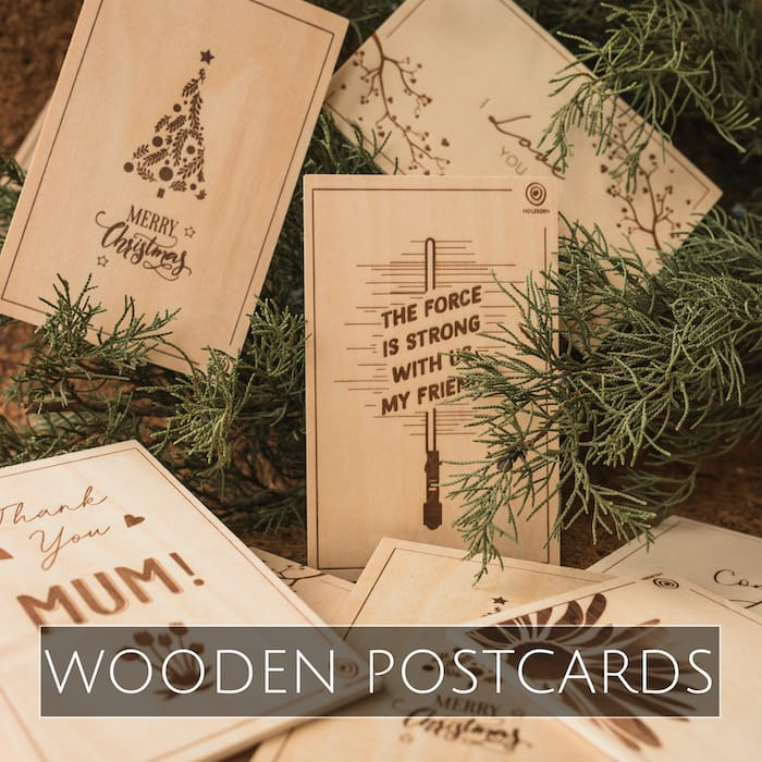 Holzkern wooden postcards